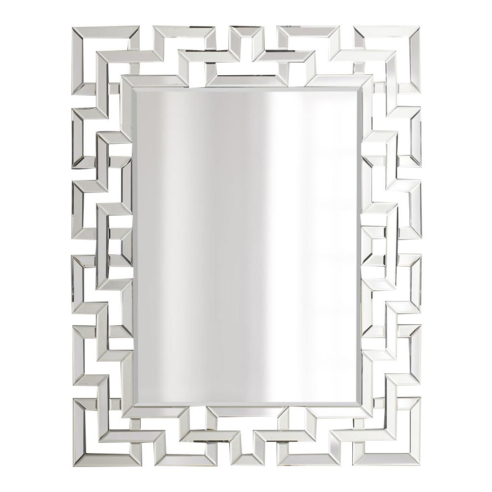 Afina Modern Luxe 32 In X 42 In Framed Rectangular Contemporary Openwork Decorative Wall Mirror In Clear Ml 3242 R The Home Depot
