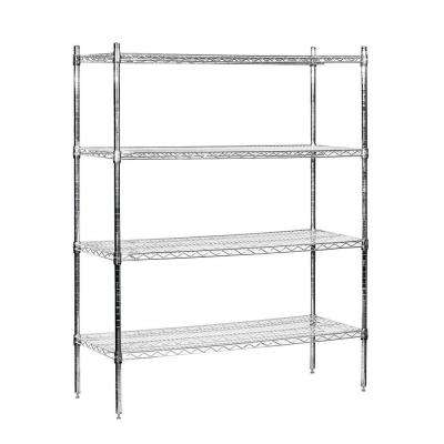 48 in. W x 63 in. H x 18 in. D Galvanized Wire Stationary Wire Shelving in Chrome