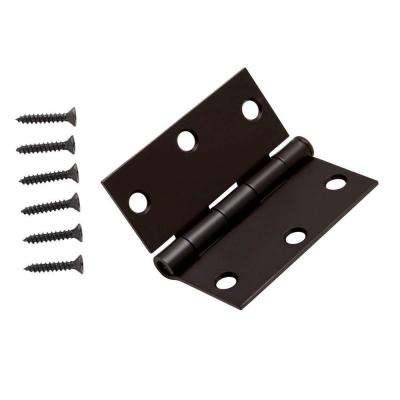 3-1/2 in. x 3-1/2 in. Oil-Rubbed Bronze Square Corner Door Hinge