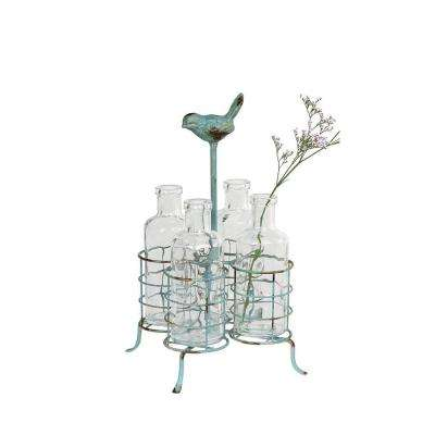 Perched Bird Glass and Metal Decorative Stand and Vases in Clear and Aqua