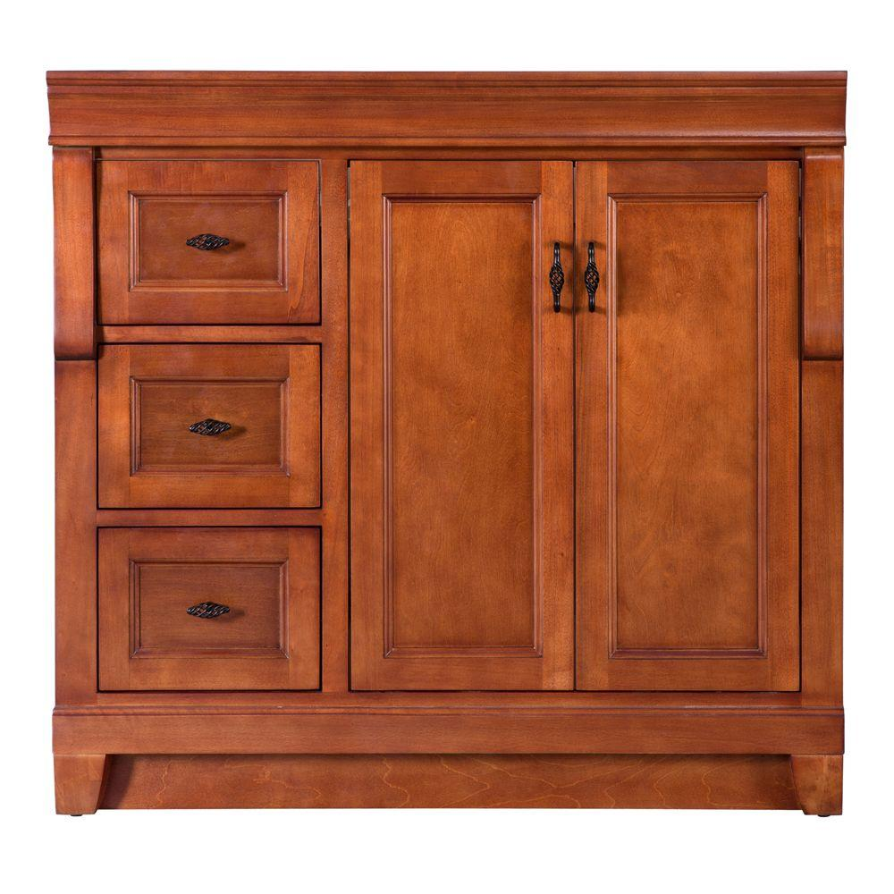 Foremost naples 36 in w bath vanity cabinet only in - Bathroom vanity with drawers on left ...
