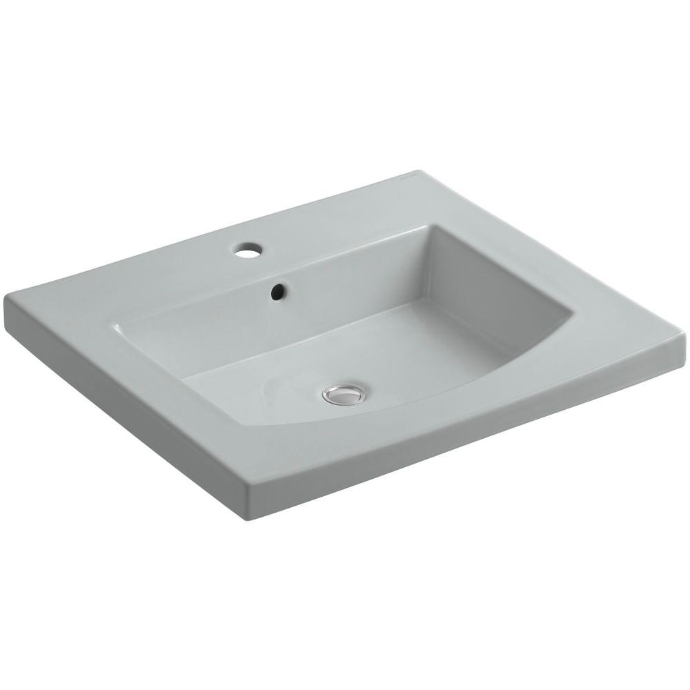 KOHLER Persuade 25-1/4 in. Vitreous China Vanity Top with Basin in Ice Grey