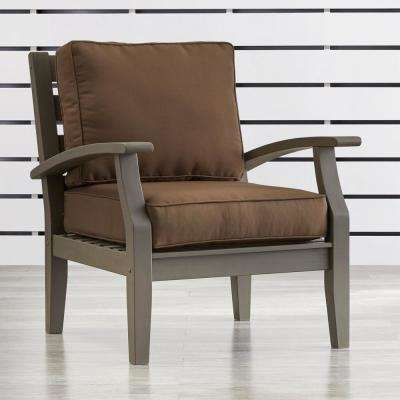 Verdon Gorge Gray Oiled Wood Outdoor Occasional Lounge Chair with Brown Cushion
