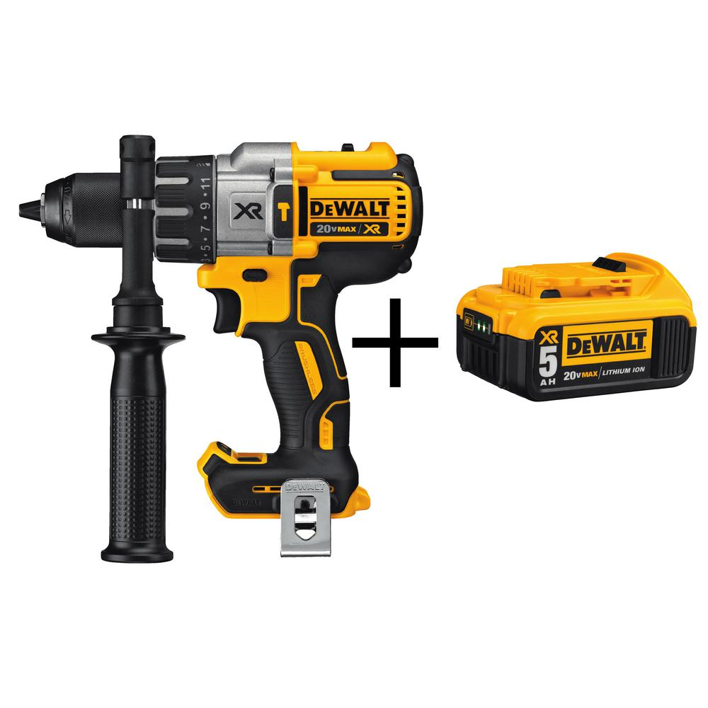 DEWALT 20-Volt MAX XR Lithium-Ion 1/2 in. Premium Cordless Brushless Hammer Drill (Tool-Only) with XR 5Ah Battery Pack