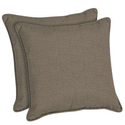 Superior Sunbrella Cast Shale Square Outdoor Throw Pillow (2 Pack)