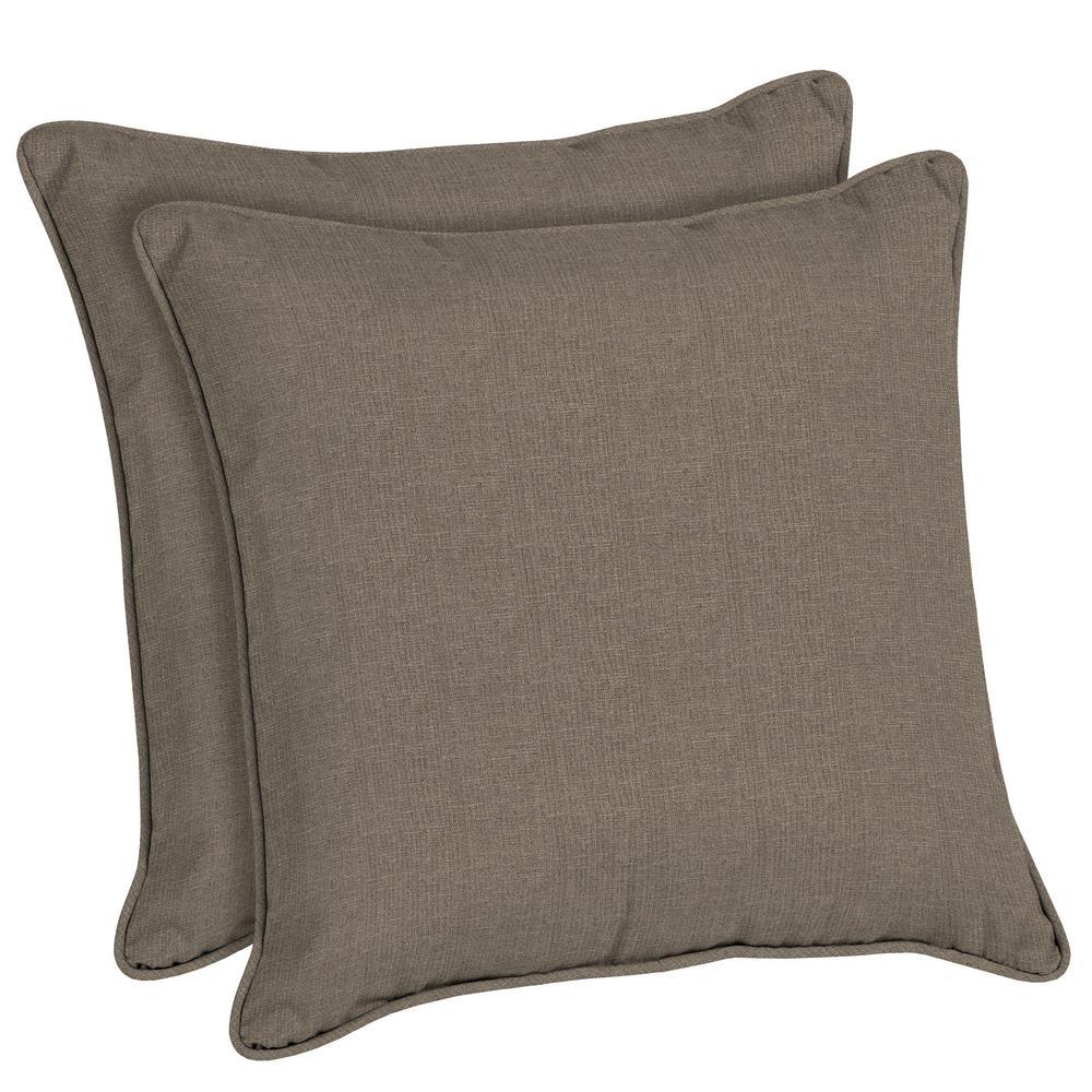 Sunbrella Cast Shale Square Outdoor Throw Pillow (2-Pack)