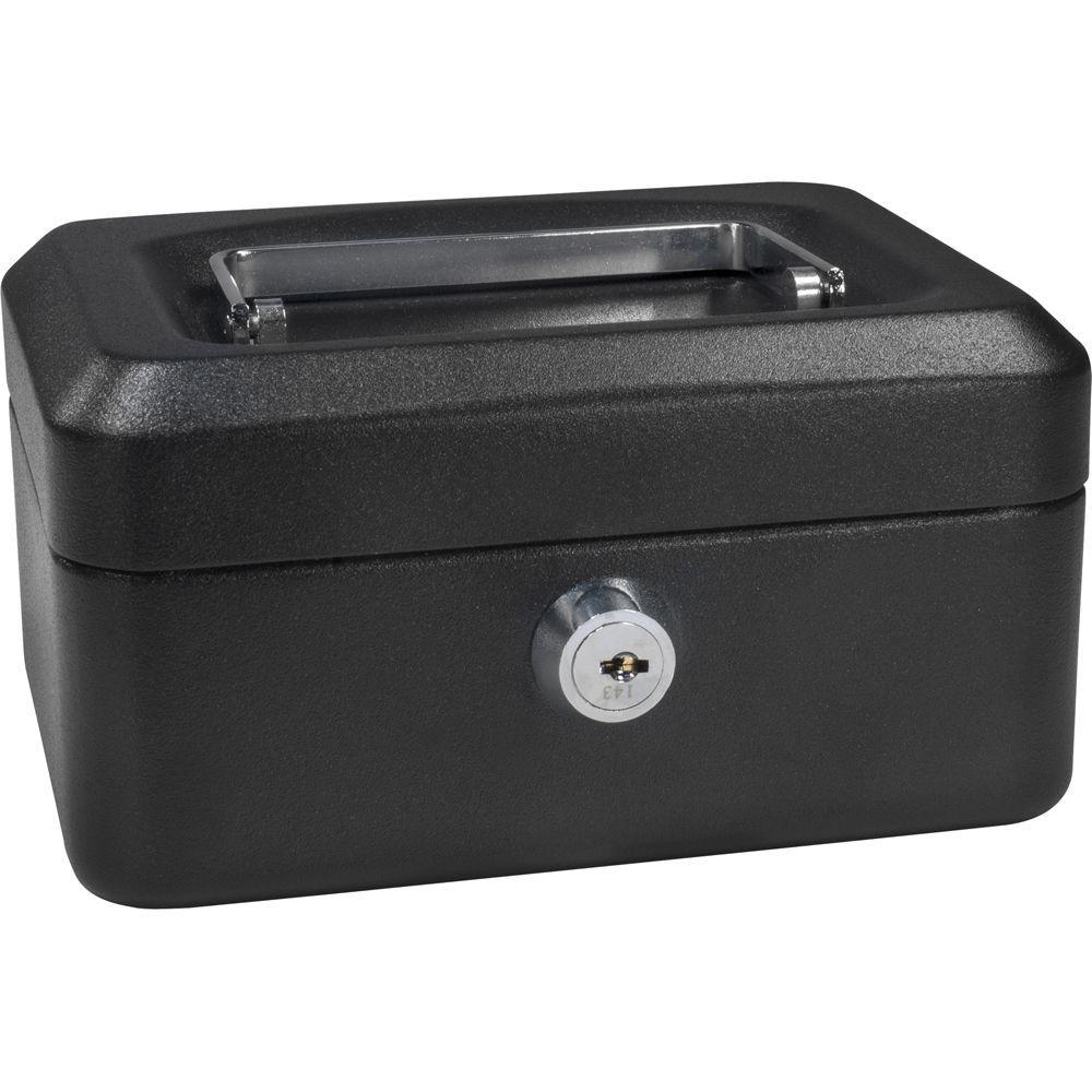 0.02 cu. ft. Steel Cash Box Safe with Key Lock, Black