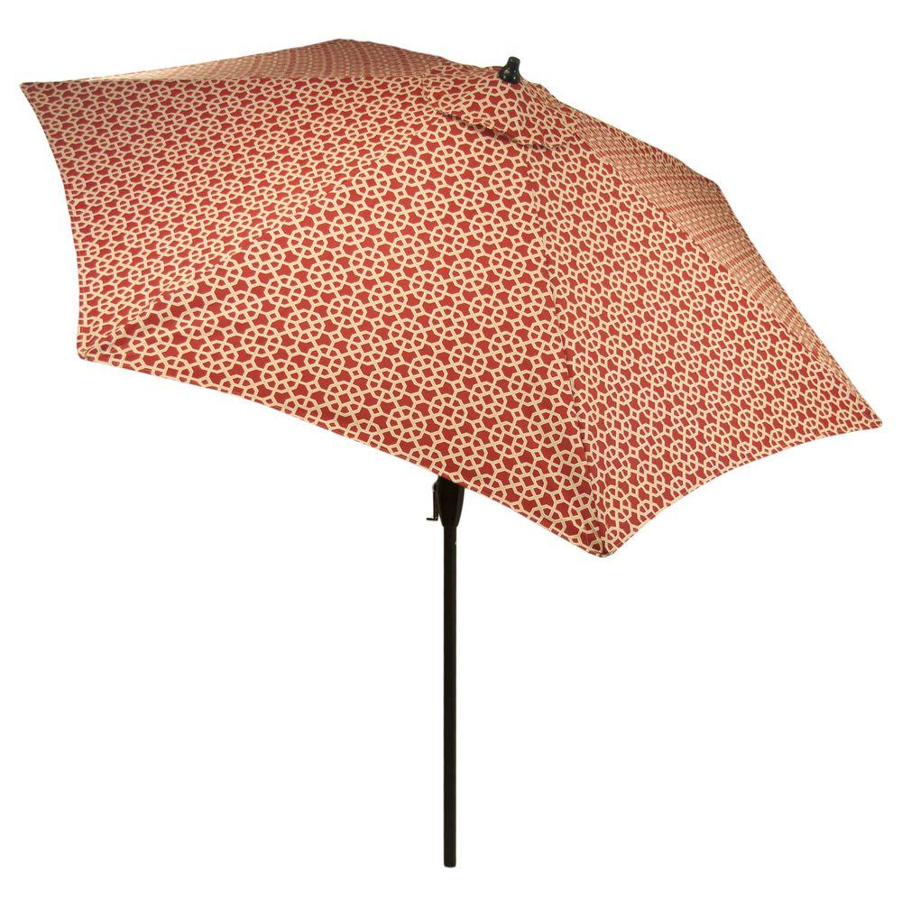 9 ft. Aluminum Market Patio Umbrella in Chili Matrix with Push-Button