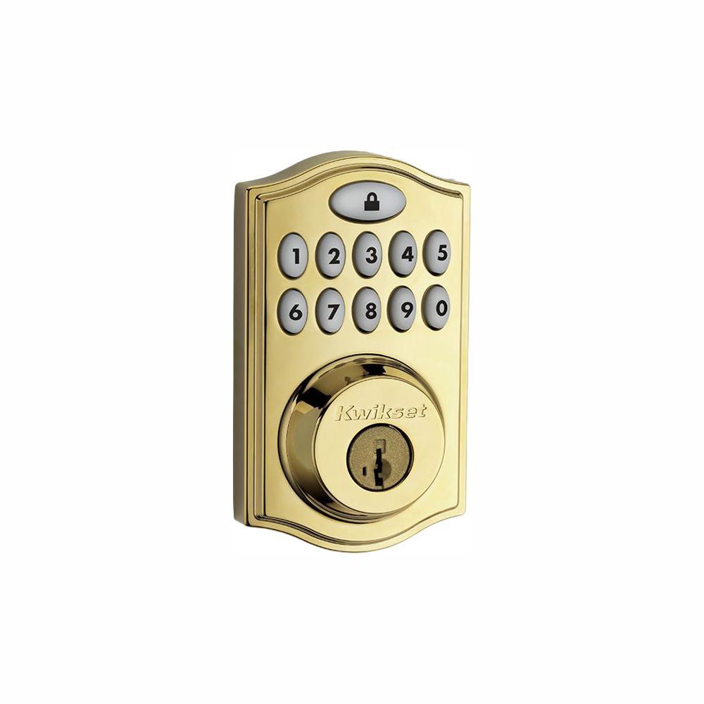 Z-Wave SmartCode 914 Lifetime Polished Brass Single Cylinder Electronic Deadbolt Featuring SmartKey Security