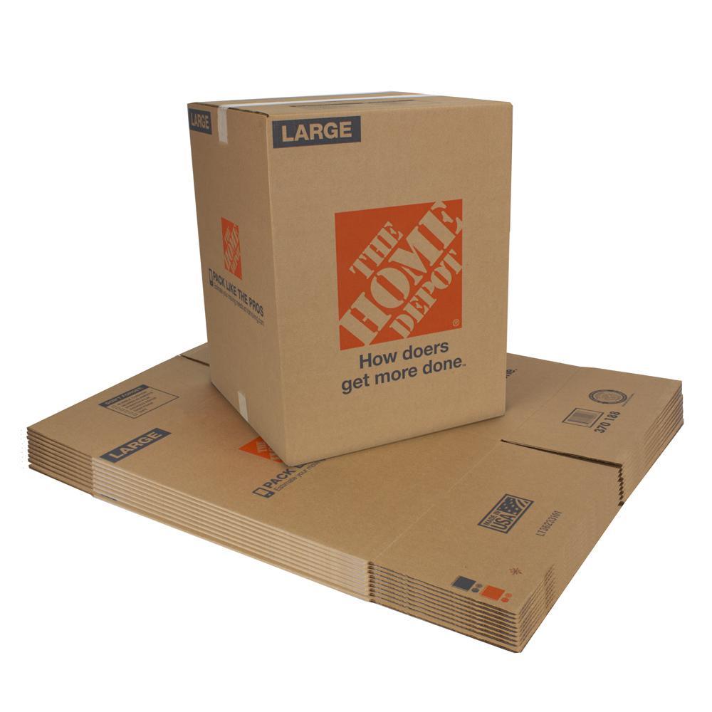 The Home Depot 18 in. L x 18 in. W x 24 in. D Large Moving Box (10 Pack)