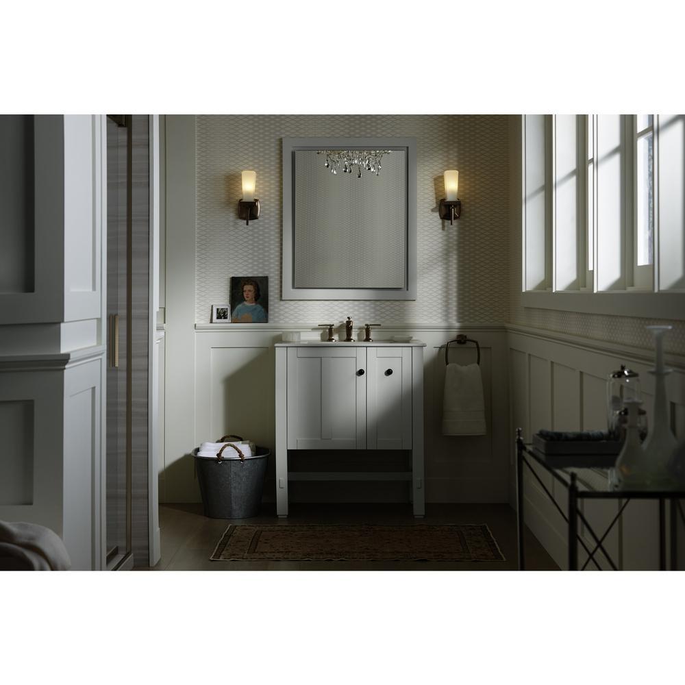 Tresham 30 in. W Vanity in Linen White with Vitreous China Vanity Top in White with White Impressions Basin