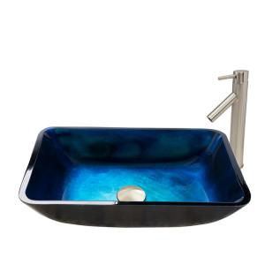 VIGO Rectangular Glass Vessel Sink in Turquoise Water and Dior Faucet Set in Brushed Nickel by VIGO