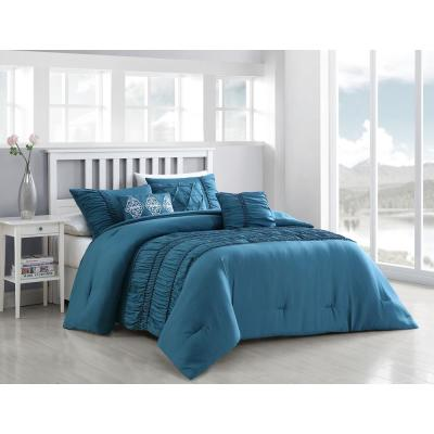 Navier 6-Piece Teal Queen Rouched Comforter Set with Throw Pillows