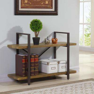 Urbanne 35.5 in. W x 25 in. H Distressed Wood Laminated MDF and Iron Two Level Rustic Free Standing Shelving Unit