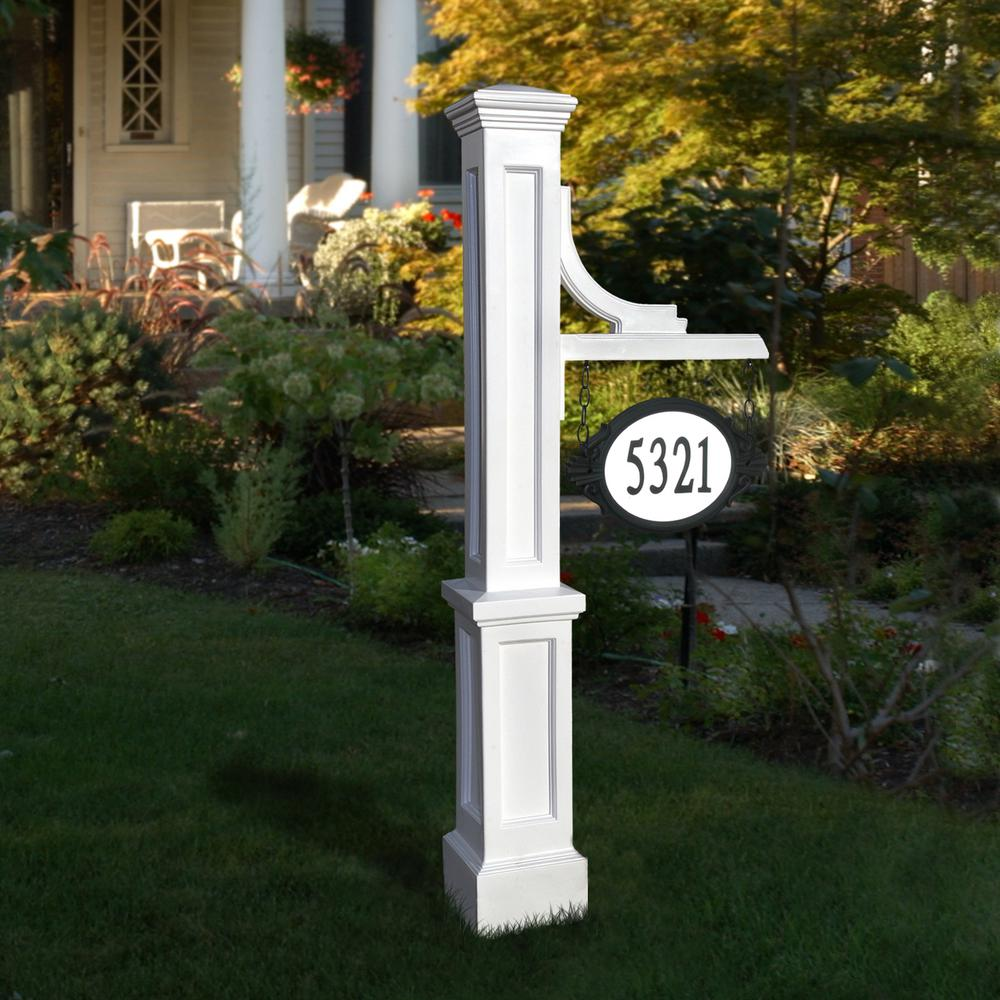 Mayne Woodhaven 56 In Tall White Address Sign Post 5812 W