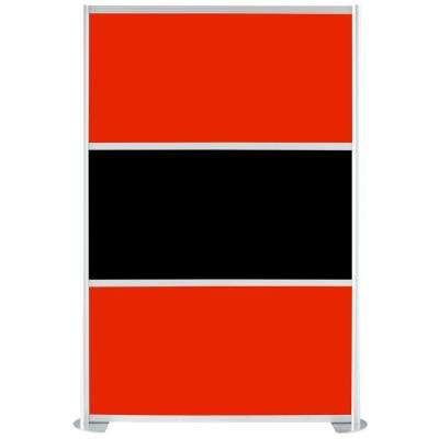 51-1/8 in. x 75-3/8 in. uDivide Red and Black 3-Panel Room Divider