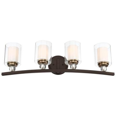 Studio 5 4-Light Painted Bronze with Natural Brushed Brass Vanity Light
