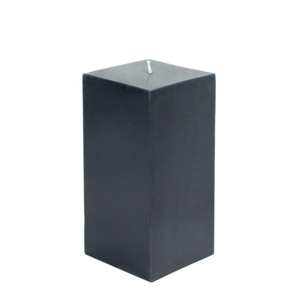 3 in. x 6 in. Black Square Pillar Candle Bulk (12-Box)