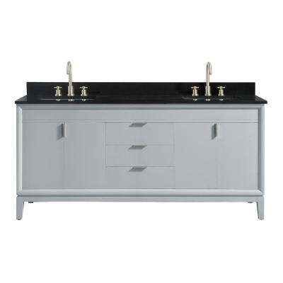 Emma 73 in. W x 22 in. D x 35 in. H Bath Vanity in Dove Gray with Granite Vanity Top in Black with White with Basins