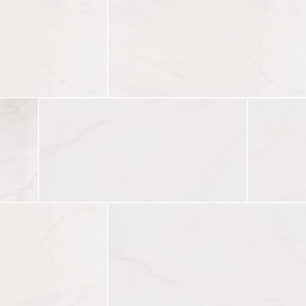 Bianco Dolomite Bevelled 12 in. x 24 in. Polished Marble Floor and Wall Tile (10 sq. ft./Case)
