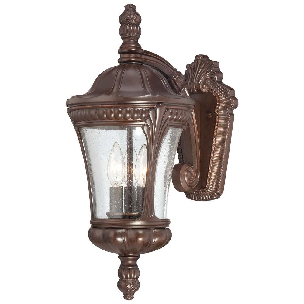the great outdoors by Minka Lavery Kent Place 3-Light Architectural Bronze Outdoor Wall Mount Lantern