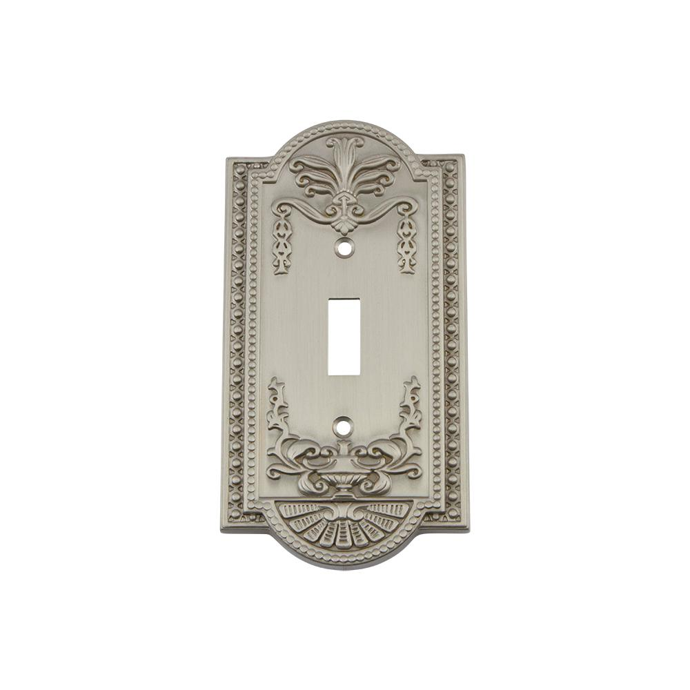 Meadows Switch Plate with Single Toggle in Satin Nickel