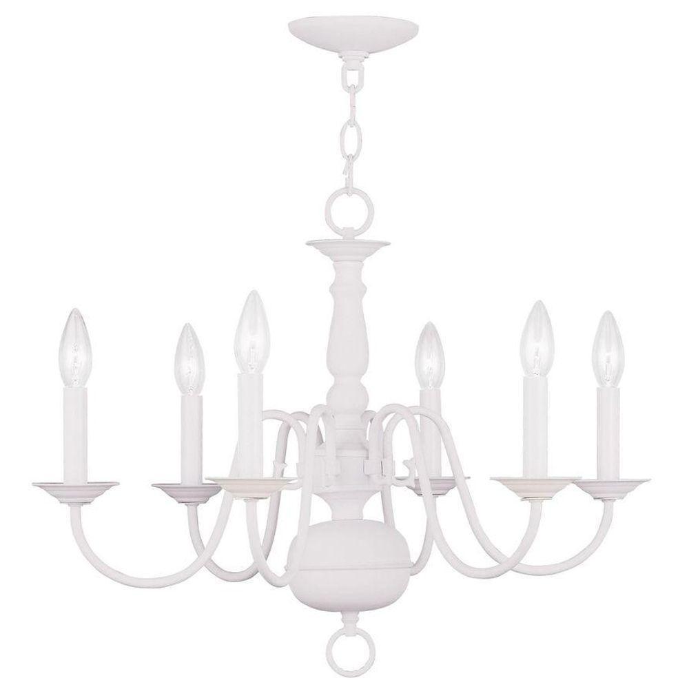 Providence 6-Light White Incandescent Ceiling Chandelier
