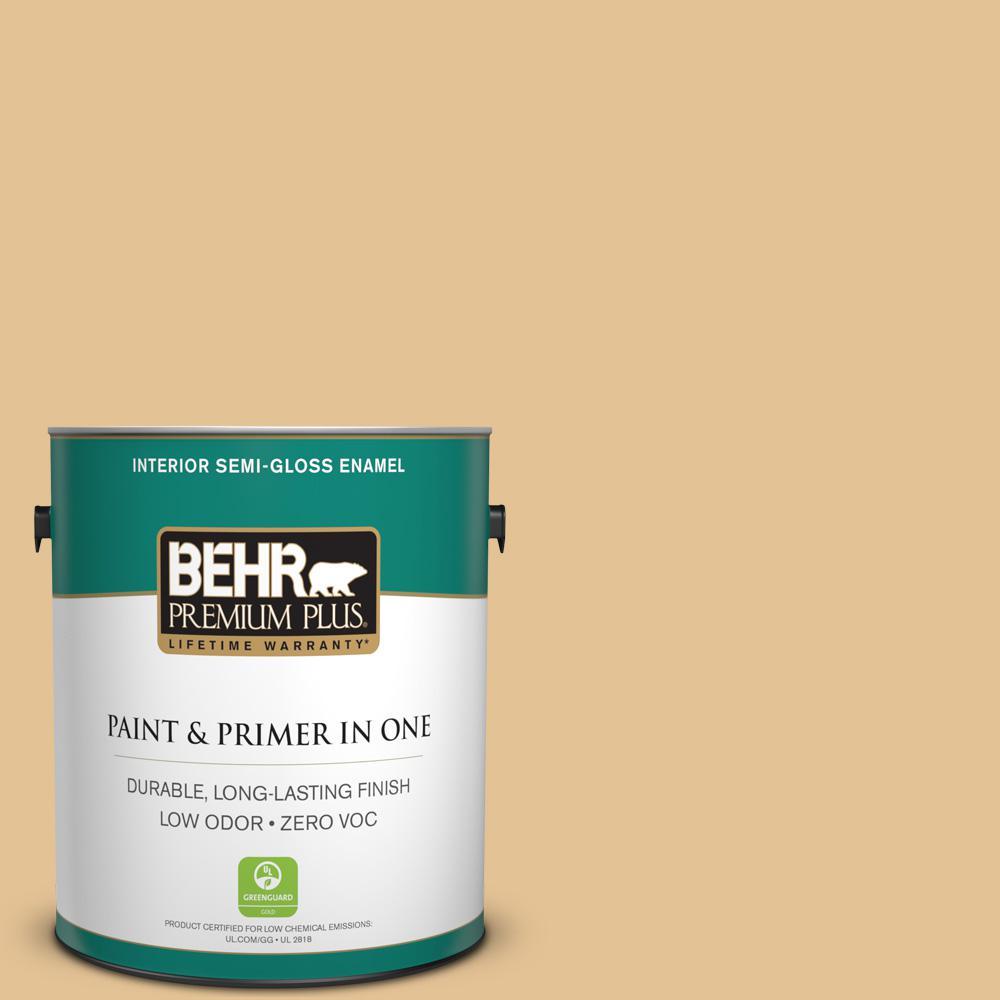1-gal. #310E-3 Ripe Wheat Zero VOC Semi-Gloss Enamel Interior Paint