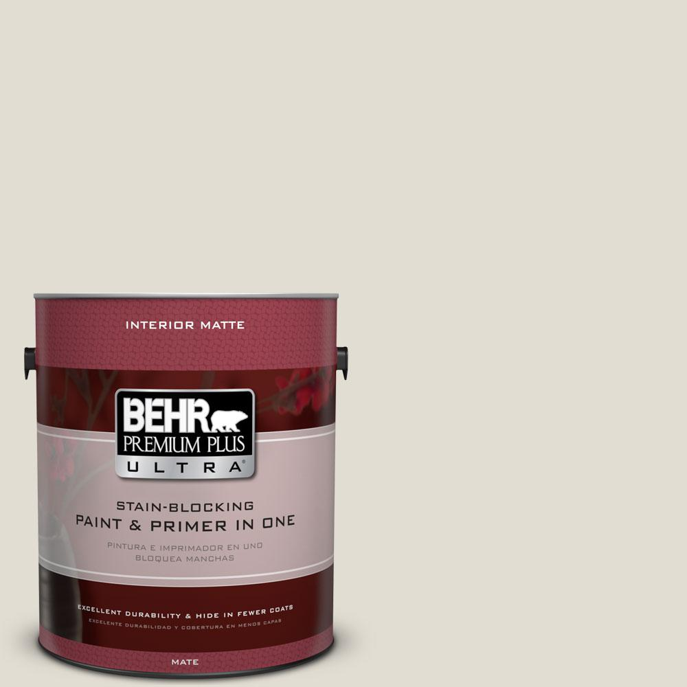 BEHR Premium Plus Ultra 1 gal. #ECC-15-2 Light Sandstone Flat/Matte Interior Paint
