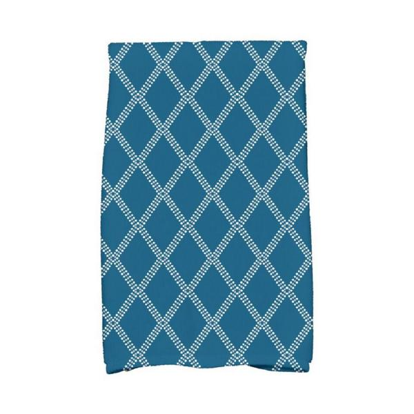 16 in. x 25 in. Teal Diamond Dots Holiday Geometric Print Kitchen Towel