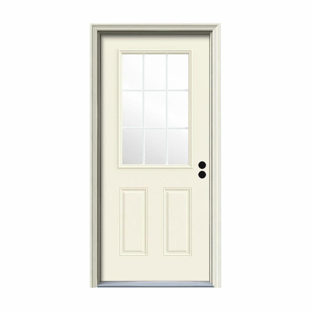 32 in. x 80 in. 9 Lite Vanilla Painted Steel Prehung Left-Hand Inswing Back Door w/Brickmould
