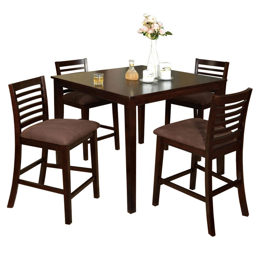 Bar Dining Table Set: Venetian Worldwide Eaton I 5-Piece Espresso Bar Table Set