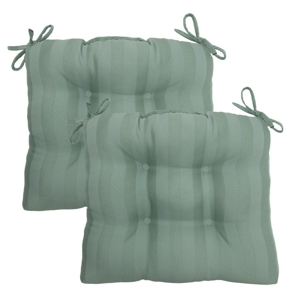 Hampton Bay Bayou Solid Tufted Outdoor Seat Pad (2-Pack)