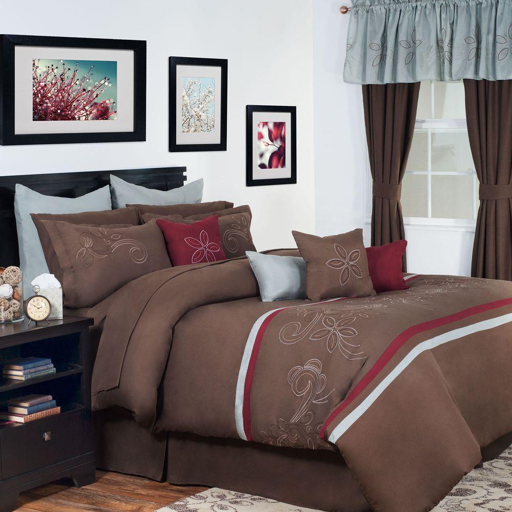 Lavish Home Briella Brown 24 Piece Queen Comforter Set 66 27 Q The