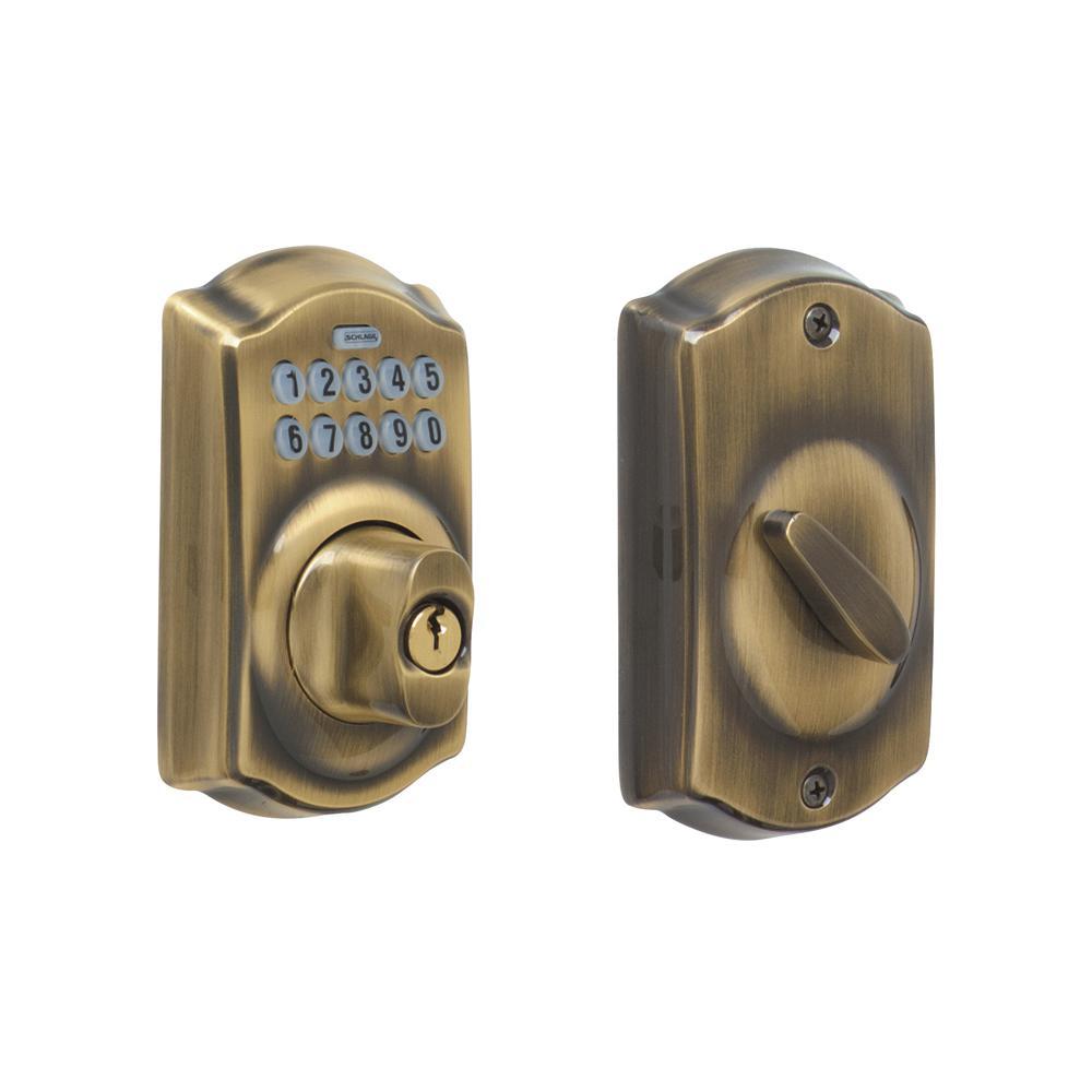 Camelot Antique Brass Keypad Electronic Deadbolt - Antique Brass - Door Locks - Door Hardware - The Home Depot