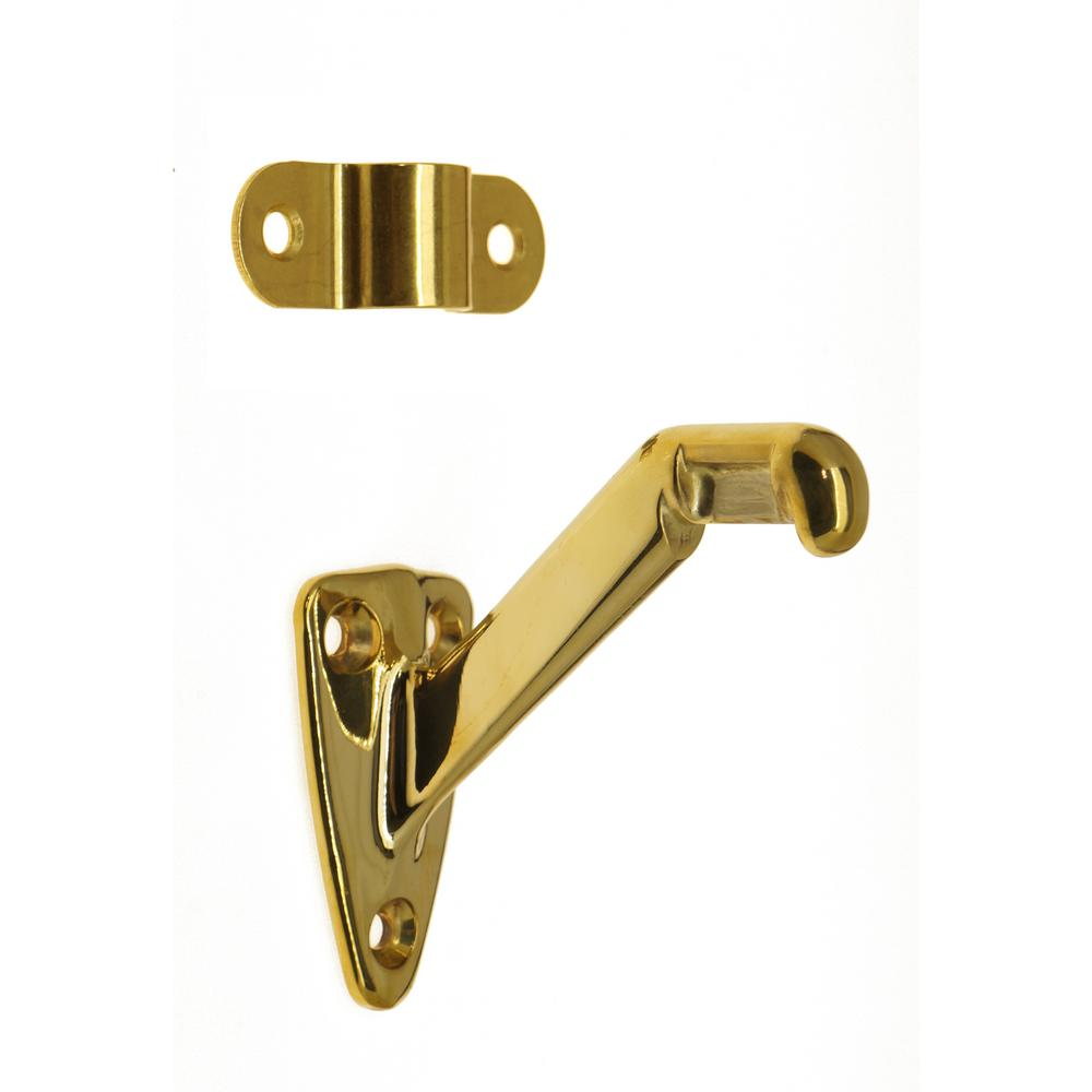Idh By St Simons 3 1 4 In Solid Brass Hand Rail Bracket In Polished Brass 18013 003 The Home Depot