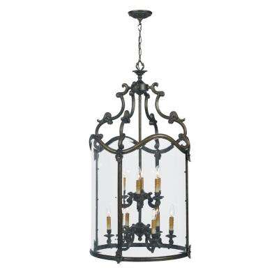 Venezia Collection 12-Light French Bronze Hanging Foyer Pendant