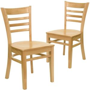 Natural Wood Seat Natural Wood Frame Restaurant Chairs Set Of 2