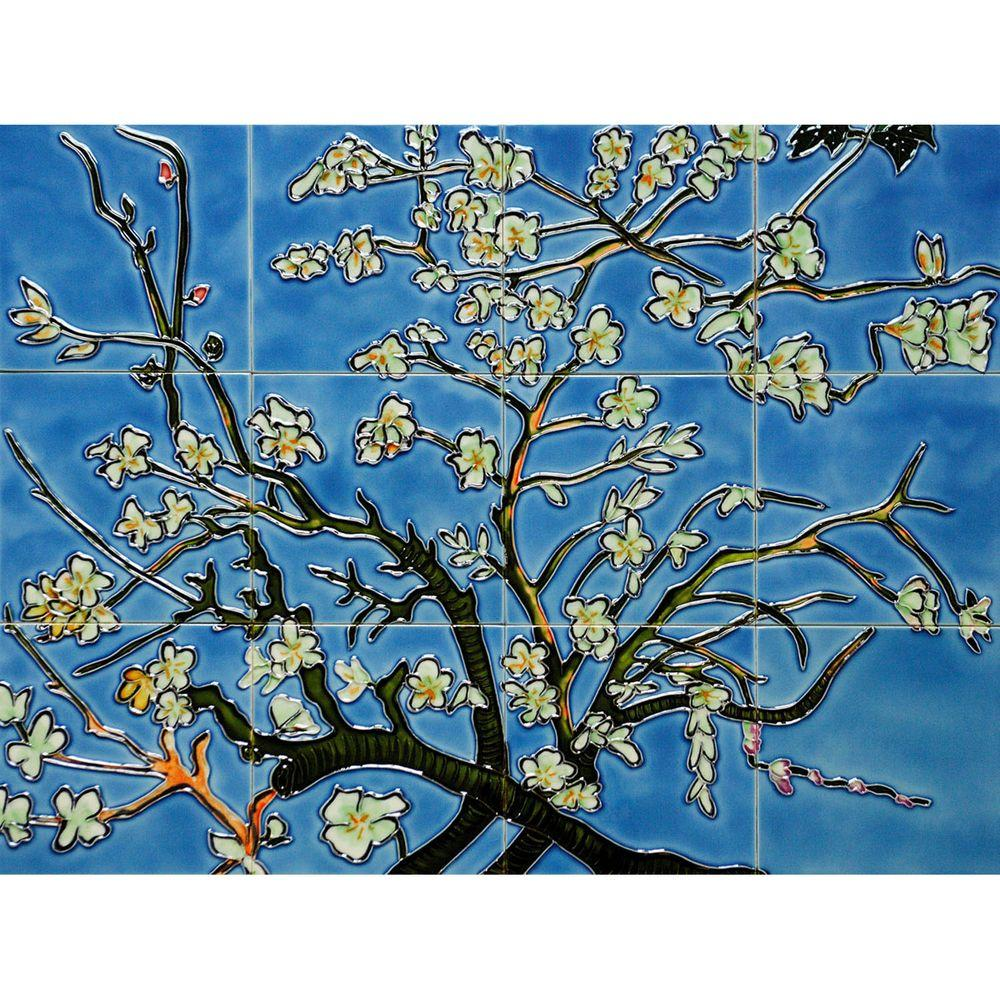 overstockArt Van Gogh, Branches of an Almond Tree in Blossom Mural 18 in. x 24 in. Wall Tiles-DISCONTINUED