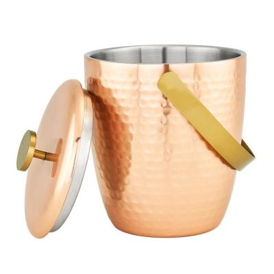3 Qt. Aura Hammered Copper Double Walled Ice Bucket
