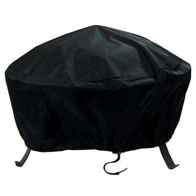 48 in. Black Durable Weather-Resistant Round Fire Pit Cover