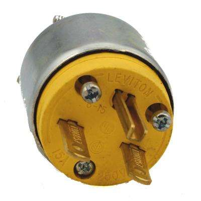 15 Amp 250-Volt Armored Grounding Plug, Steel