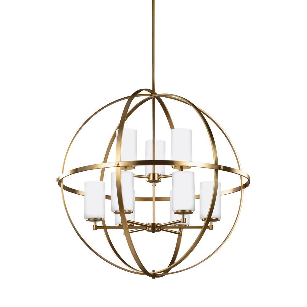 Alturas 9-Light Satin Brass Chandelier with LED Bulbs