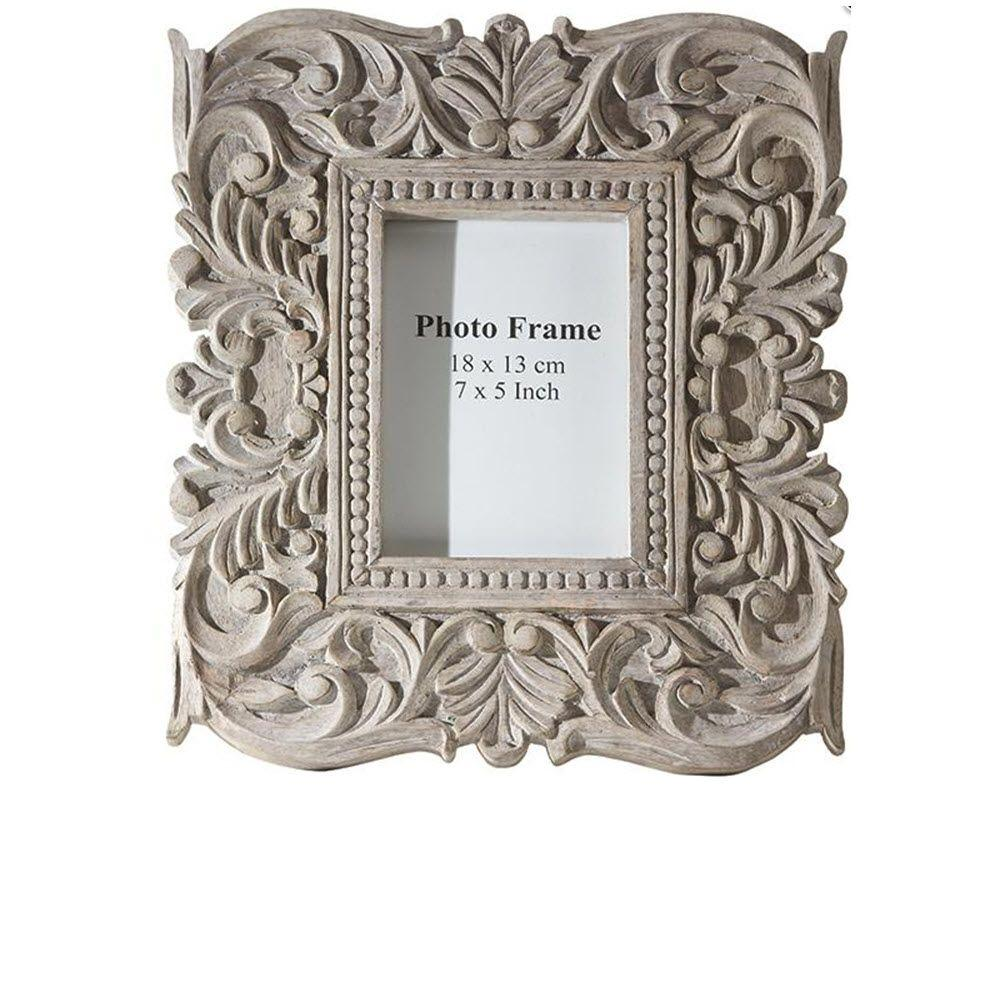 Home Decorators Collection Sachi 1-Opening 14.5 in. x 12 in. Carved Wood Photo Frame