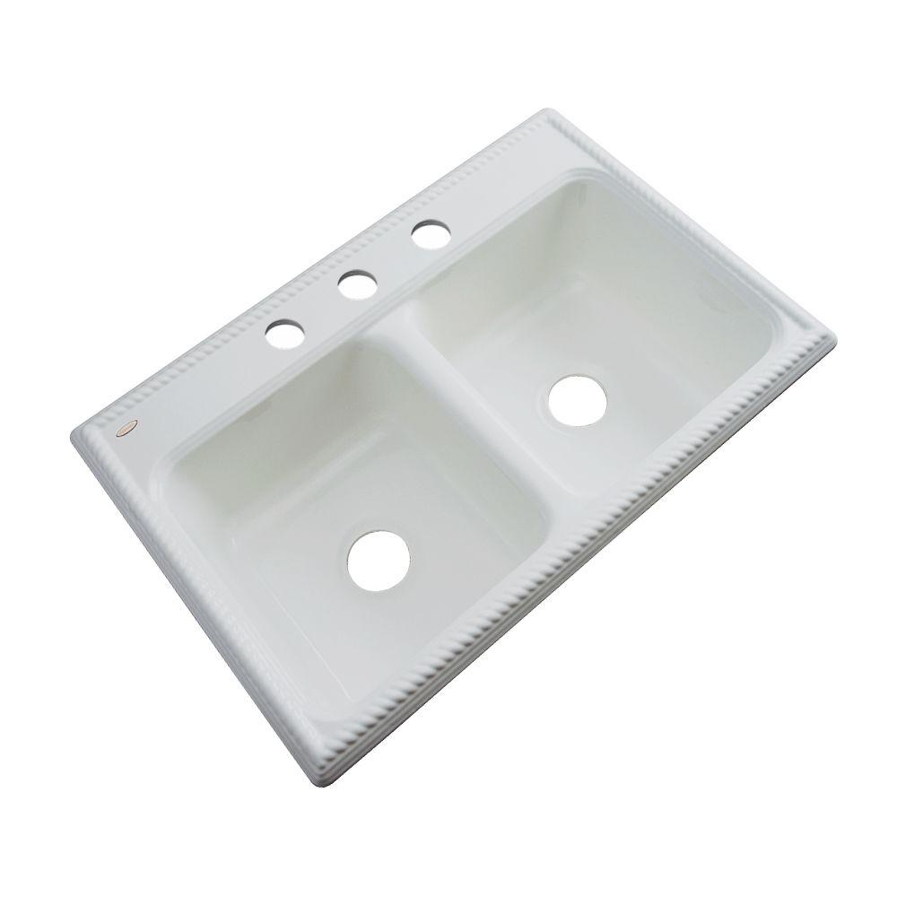 Thermocast Seabrook Drop-In Acrylic 33 in. 3-Hole Double Basin Kitchen Sink in Sterling Silver