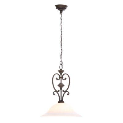 Somerset Collection 1-Light Bronze Pendant with Bell Shaped Frosted Glass Shade