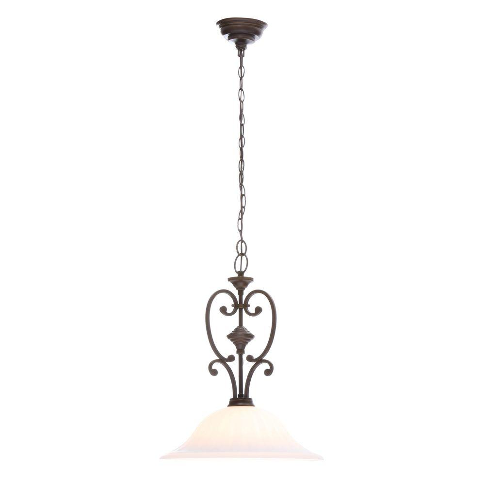 Hampton bay pendant lights lighting the home depot somerset collection 1 light bronze pendant with bell shaped frosted glass shade aloadofball Gallery