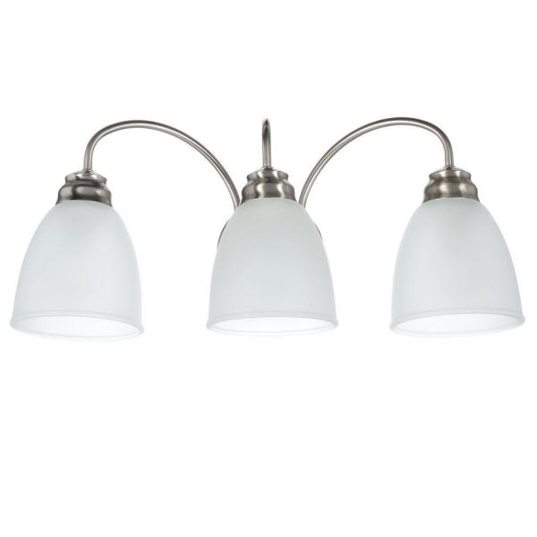 Hampton Bay Hamilton 3 Light Brushed Nickel Vanity Light With Frosted Glass Shades Efg1393al 2 Bn The Home Depot