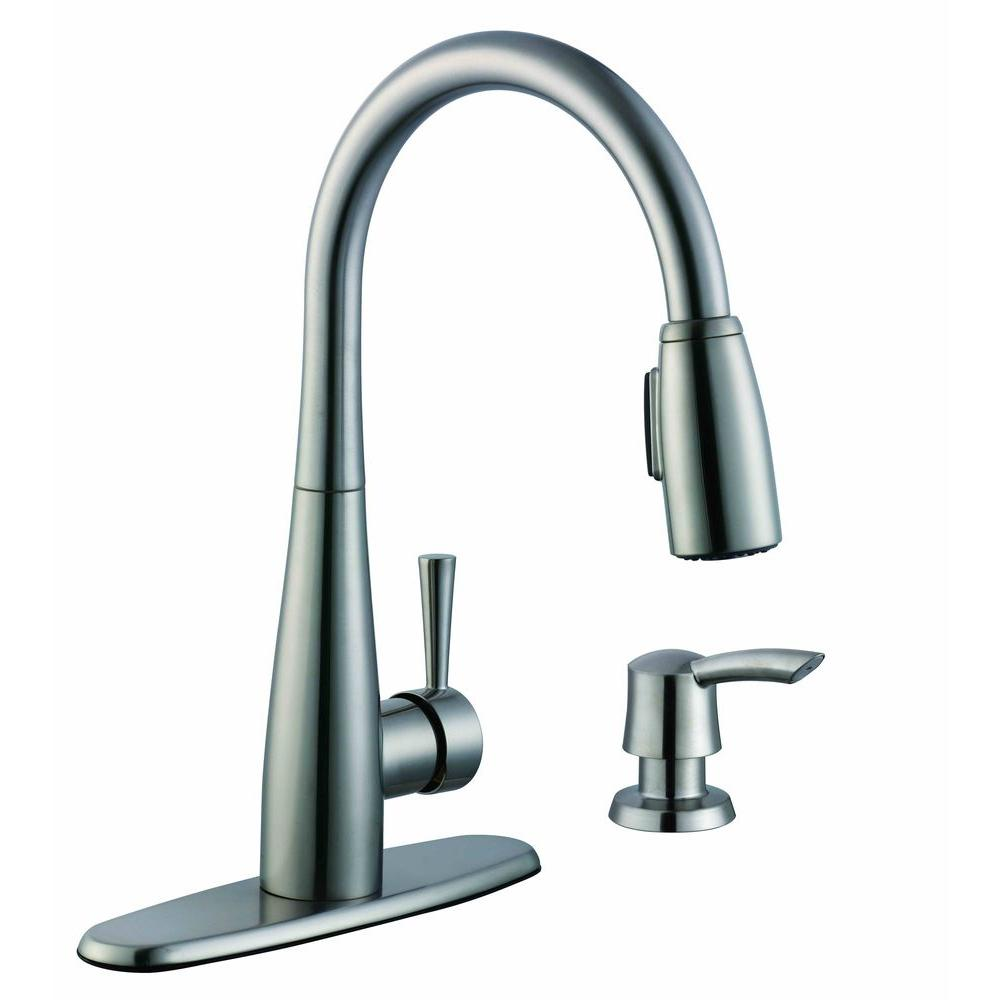 Glacier bay 900 series single handle pull down sprayer kitchen faucet with soap dispenser