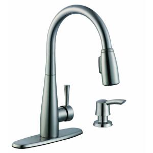 Glacier Bay 900 Series Single-Handle Pull-Down Sprayer Kitchen Faucet with Soap Dispenser in Stainless Steel by Glacier Bay